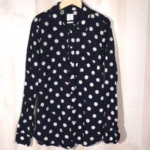 GAP Fox Print Fitted Boyfriend Long Sleeve Navy